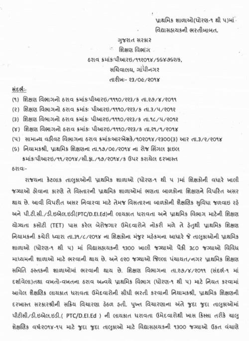 Lower Primary Vidhyasahayak Bharti Karva Babat Paripatra