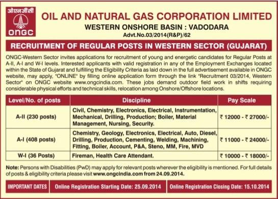 ONGC Vadodara Recruitment 2014