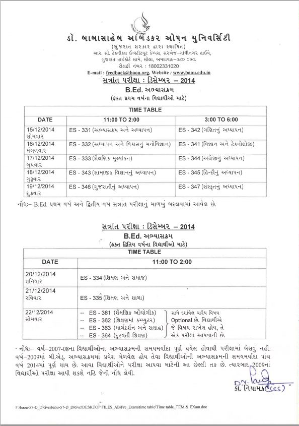 BAOU Bed Exam Time Table Dec-2014