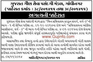 GSSSB Bin Sachivalay Clerk Exam Date 2014
