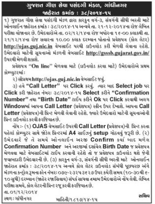 GSSSB Bin Sachivalay Clerk Call Letter