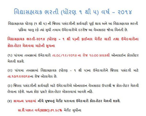 Vidhyashayak Bharti 2014 fifth round