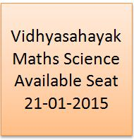 Vidhyasahayak Maths Science Available Seat 21-01-2015