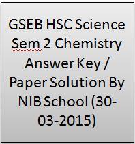 GSEB HSC Science Sem 2 Chemistry Answer Key