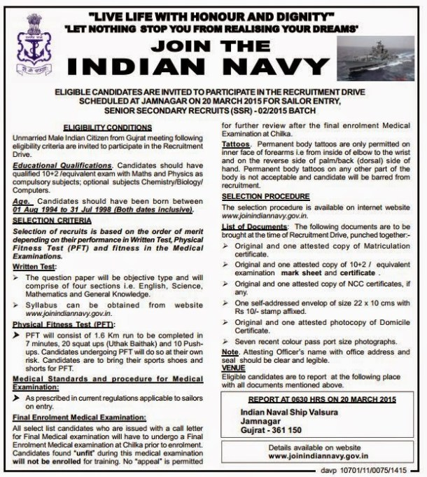 Indian Navy Jamnagar Recruitment 2015