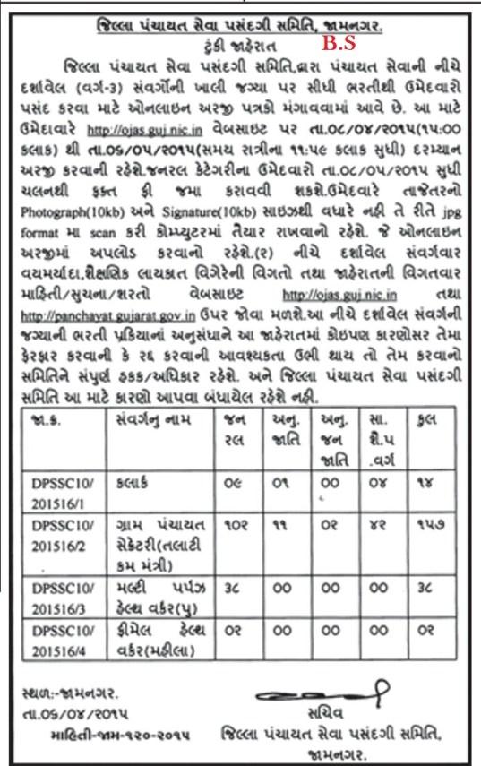 GPSSB Jamnagar Talati Cum Mantri