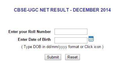 CBSE UGC NET Result December 2014