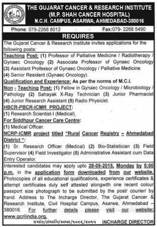 GCRIINDIA Teaching and Non Teaching Post Recruitment 2015