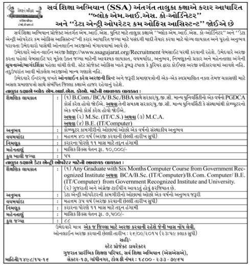 SSA Gujarat Block MIS and DEO Recruitment 2015