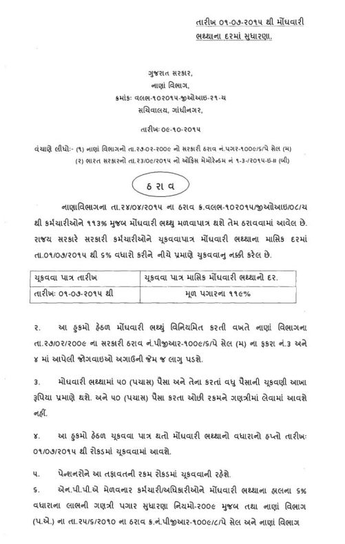 6% DA July-2015 Official Circular By Finance Department