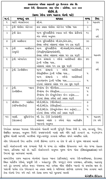 Sabar Dairy Recruitment 2015