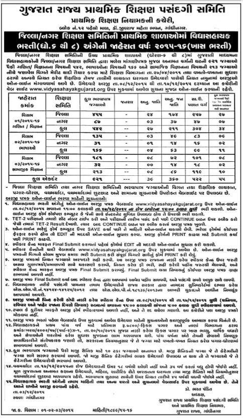 Vidhyasahayak 6 to 8 Bharti 2015-2016