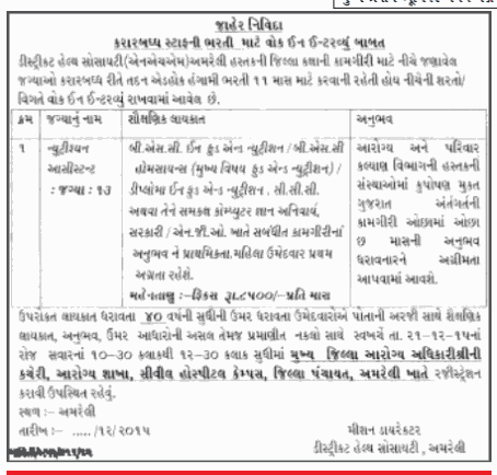 Walk in Interview - Recruitment for Nutrition Assistant Posts in Amreli