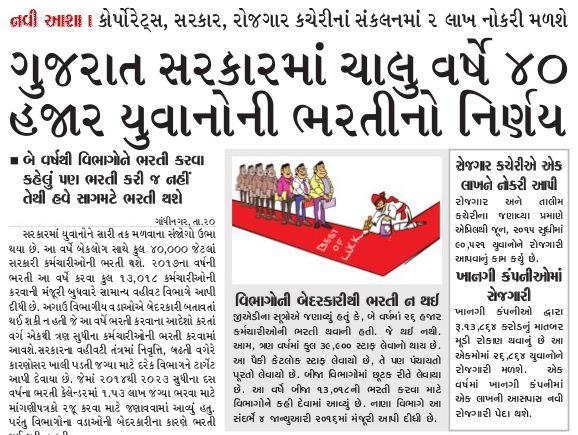 Gujarat Sarkar 2016 Ma 40 Hajar Yuvano Ni Bharti Karshe - News Report