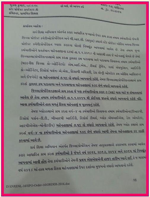 SSA Karmchario Na Pagar Vadhara Babat Paripatra