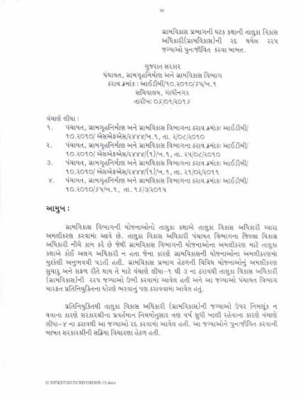 TDO Post Ubhi karva ane Class 3 Ma Down Grade Karva Babat Paripatra 2016