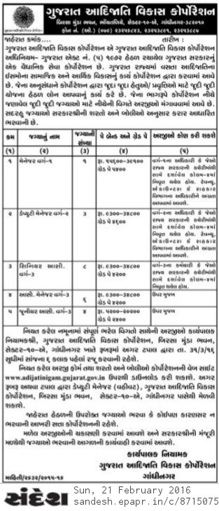 Gujarat Adijati Vikas Nigam Recruitment 2016