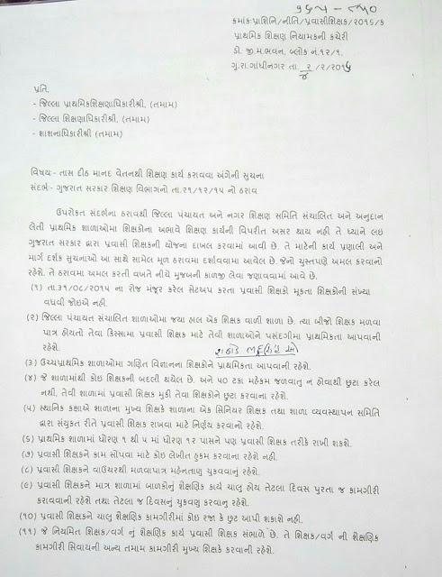 Primary School Pravasi Shikshak Bharti Karva Babat Paripatra 04-02-2016