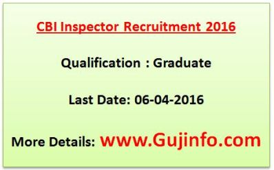 CBI Inspector Recruitment 2016