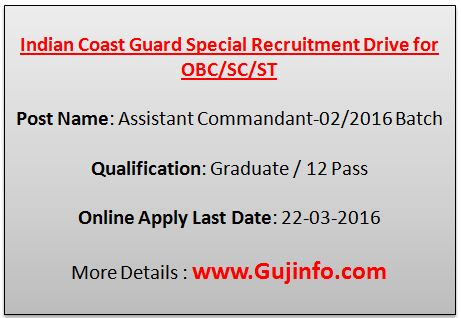 Indian Coast Guard recruitment 2016