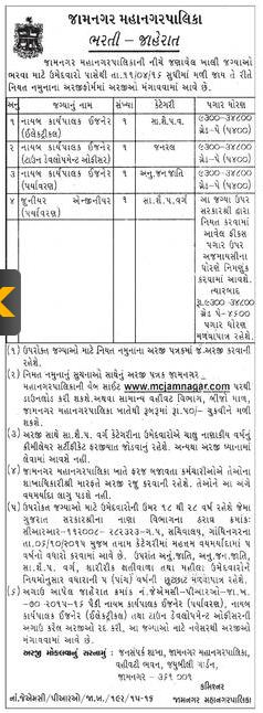 Jamnagar Municipal Corporation Recruitment 2016