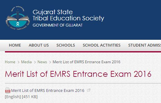 Eklavya Model School Merit List 2016