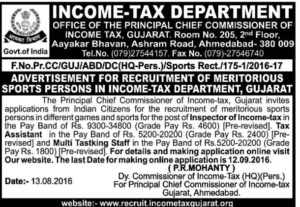 Gujarat Income Tax Department Recruitment 2016