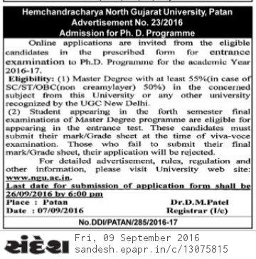 hngu phd admission 2016-2017