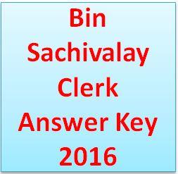 Bin Sachivalay Clerk Answer Key 2016
