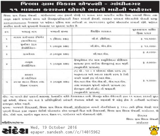 DRDA Gandhinagar Recruitment 2016