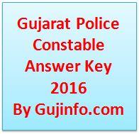 Gujarat Police Constable Answer Key 2016