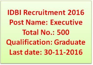 IDBI Bank Executive Recruitment 2016