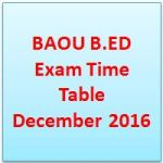 BAOU B.ED Exam Time Table December 2016
