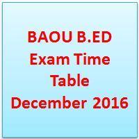 BAOU B.ED Exam Time Table December 2016