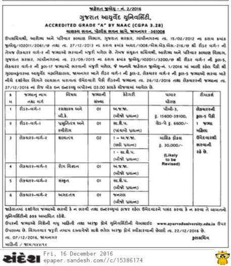 Gujarat Aayurved University Recruitment 2016