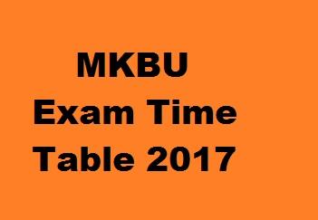 MK Bhavnagar University Exam Time Table 2017