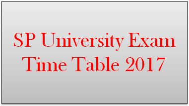 SP University Exam Time Table 2017 March-April
