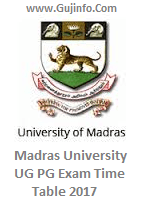 Madras University Time Table 2017