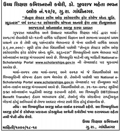 Central Sector Scholarship 2018-19