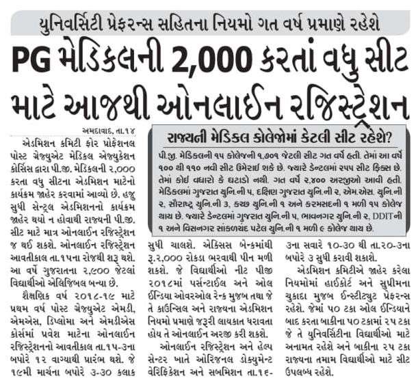 Gujarat Medical Admission 2018