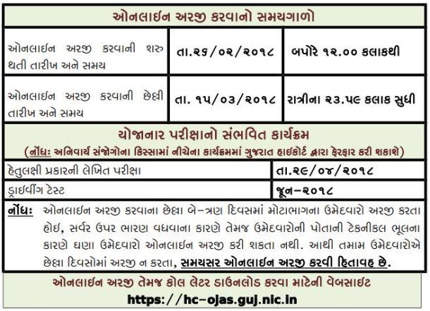 Gujarat High Court Driver Bharti 2018