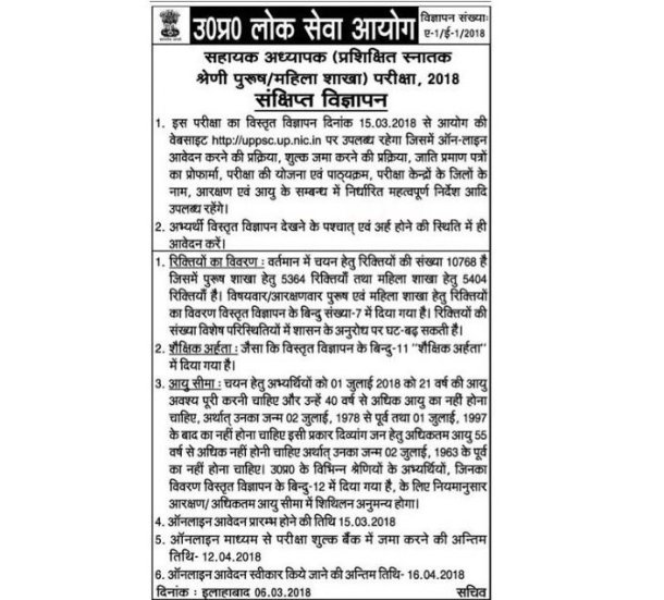 uppsc lt grade teacher 2018 notification