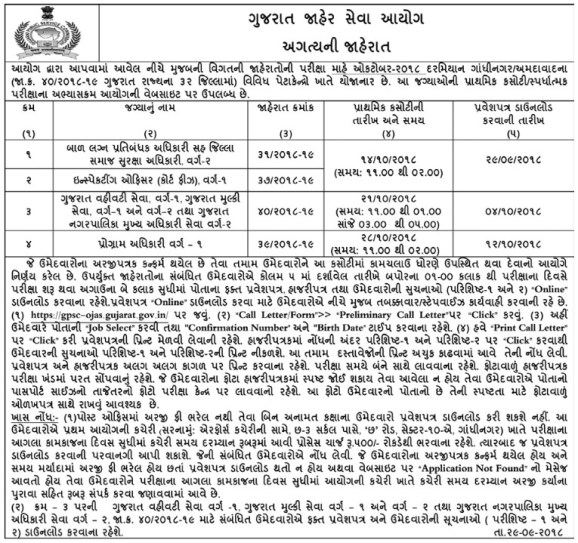 GPSC Class 1 2 call letter
