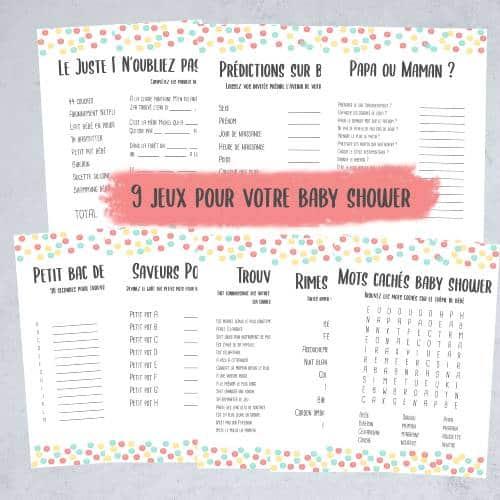 Jeu à imprimer pour une baby shower