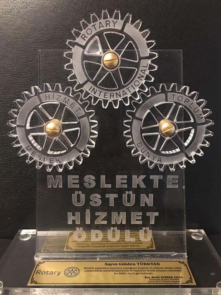 Eminönü Rotary Kulübü'nün Meslek Yaşamı Boyu Başarı Ödülü 2