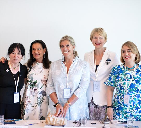 Barbara Dietrich, Mamaga Ngoyinyonufiaga Cornelia von Vülfing, Princess Lea of Belgium, Marina Volynkina and Gulden Turktan at Living Tomorrow in Brussels.