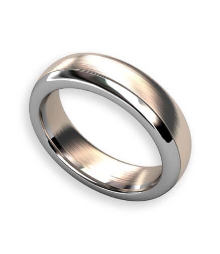 slät ring i rött och vitt guld med mjuka former