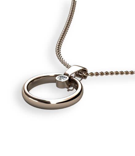 hållare för slät ring med briljantslipad diamant