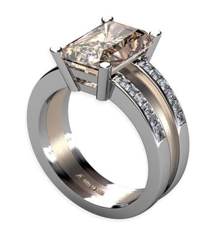 ring i vitt och rött guld med diamanter