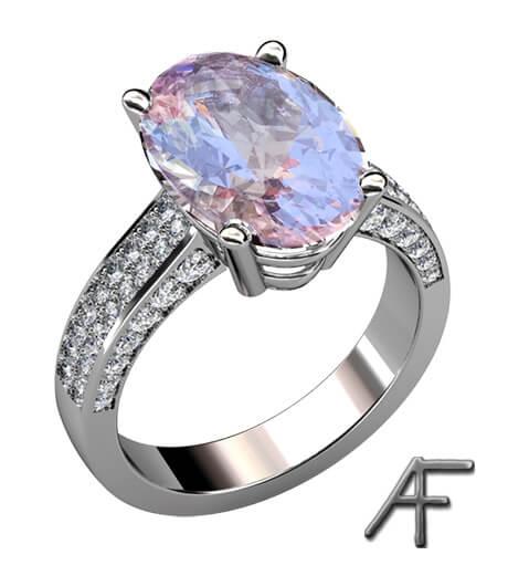 designförslag diamantring med morganit